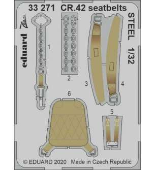 1:32 Eduard 33271 Seatbelts Steel for CR.42 - ICM