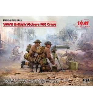 1:35 ICM 35646 WWII British Vickers MG Crew (Vickers MG & 2 figures)