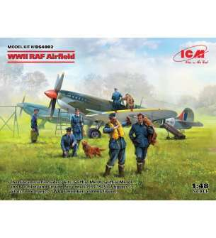 1:48 ICM DS4802 WWII RAF Airfield - Spitfire Mk.IX,Spitfire MkVII,RAF Pilots a Ground Pers 7 fig.