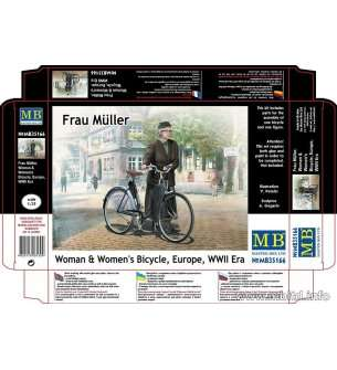 1:35 Master Box MB35166 Frau Müller, Woman & Bicycle, Europe WW II Era