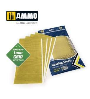 AMMO MIG 8045 Masking Sheets - 1 mm Grid x 5 Sheets - 290x145mm (Adhesive)
