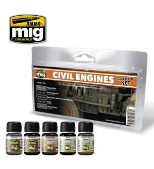 AMMO MIG 7146 Civil Engines - Weathering Set