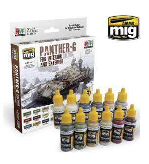 AMMO MIG 7174 Panther-G Colors Set for Interior and Exterior - Acryl set