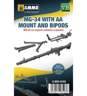 1:35 AMMO MIG 8103 MG-34 With AA Mount and Bipods
